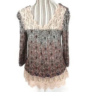 Self Esteem Crocheted and Floral Peasant Blouse